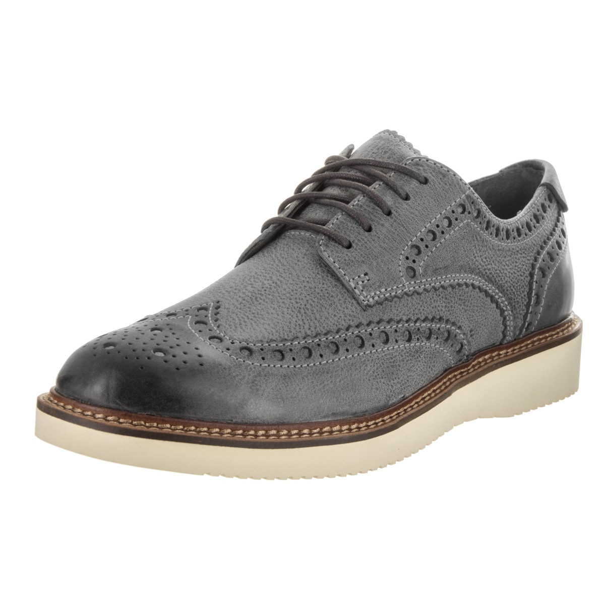 Gold Wingtip Wedge Oxford Shoe
