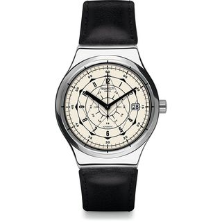 Swatch Men's YIS402 'Sistem Soul' Automatic Black Leather Watch