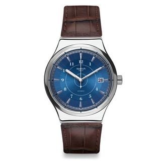 Swatch Men's YIS404 'Sistem Fly' Automatic Brown Leather Watch