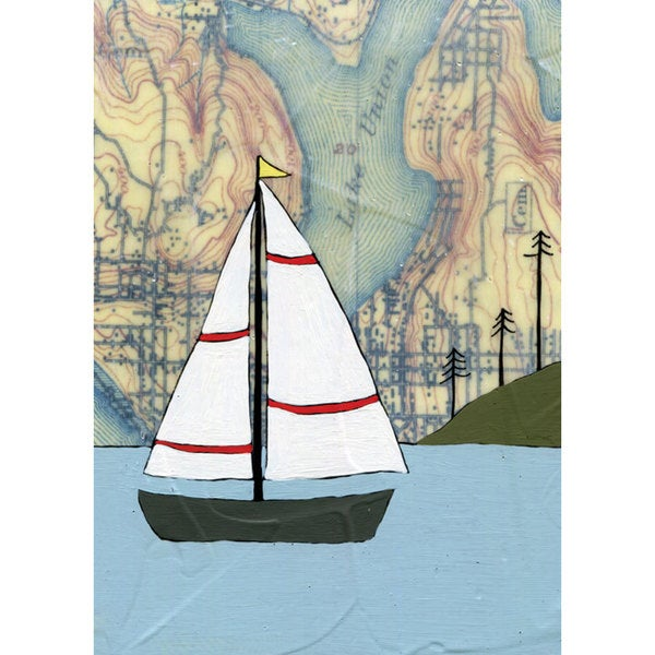 Oopsy daisy 'Lake Union Sailboat' 10 x 14-inch Stretched Canvas Wall Art