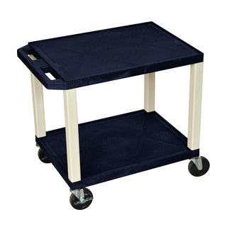 Offex Navy and Putty Plastic 26-inch 2-shelf A/V Cart