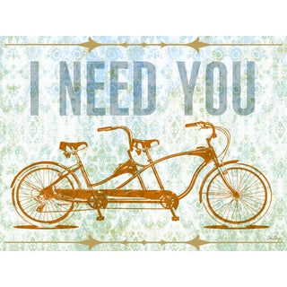 Oopsy daisy 'I Need You - Tandem Bike' 24 x 18-inch Stretched Canvas Wall Art