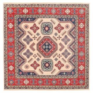 Herat Oriental Afghan Hand-knotted Vegetable Dye Kazak Wool Rug (8'1 x 8'1)