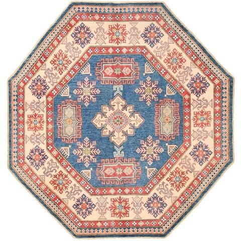 Handmade Herat Oriental Afghan Vegetable Dye Kazak Wool Rug - 7' x 7' (Afghanistan)