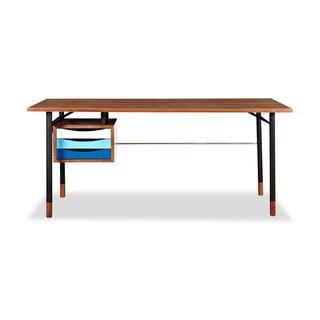 Kardiel Color Theory Mid-century Modern Walnut and Black Steel 3-Drawer Writing Desk