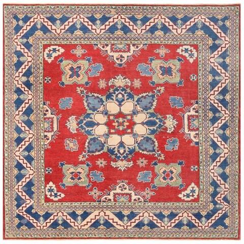 Handmade Herat Oriental Afghan Vegetable Dye Kazak Wool Rug - 7'9 x 7'9 (Afghanistan)