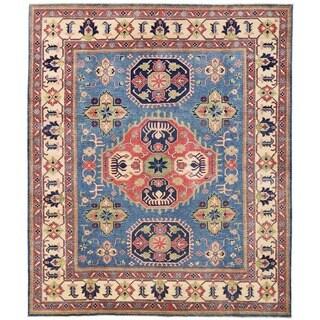Herat Oriental Afghan Hand-knotted Vegetable Dye Kazak Wool Rug (8'1 x 9'7)