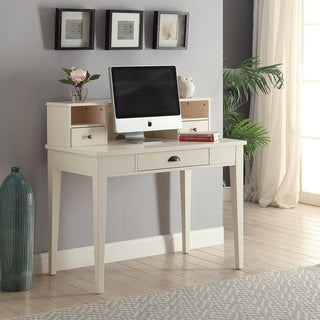 White-finished Wooden 42-inch Built-in Hutch Desk