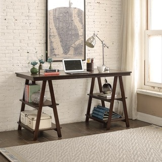 Briarwood Home Decor Dark Brown Wood 52-inch Sawhorse Desk