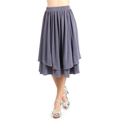 Evanese Women's Godet Double Layer Contemporary A-line Elastic Waist Skirt