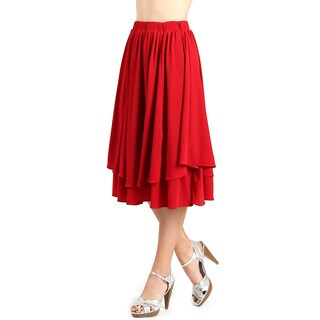 Evanese Women's Godet Double Layer Contemporary A-line Elastic Waist Skirt