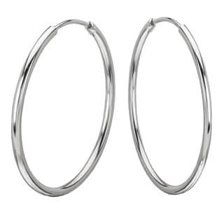 Avanti Sterling Silver 40 mm Round High Polished Hoop Earrings