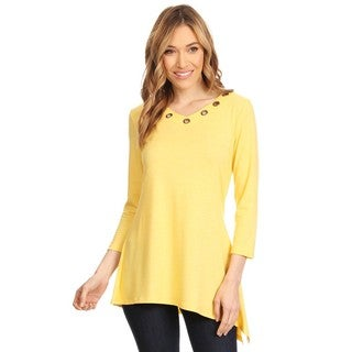 High Secret Women's Yellow Relaxed Fit Eyelet Embellishmets 3/4 Sleeves V-Neck Top