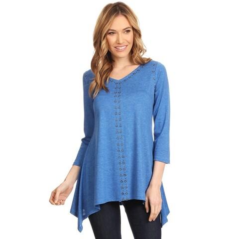 High Secret Women's Blue Eyelet Embellishment Relaxed Fit 3/4 Sleeves V-Neck Top