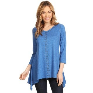 High Secret Women's Blue Eyelet Embellishment Relaxed Fit 3/4 Sleeves V-Neck Top