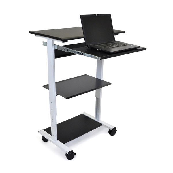 Offex 3-Shelf Mobile Adjustable Stand Up Workstation Desk
