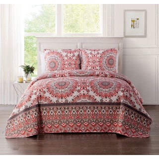 VCNY Home Phoebe Coral Reversible 3-piece Quilt Set