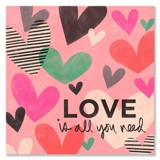 Oopsy Daisy 'Love Is All You Need Hearts' by Ampersand Design Studio - 10 x 10