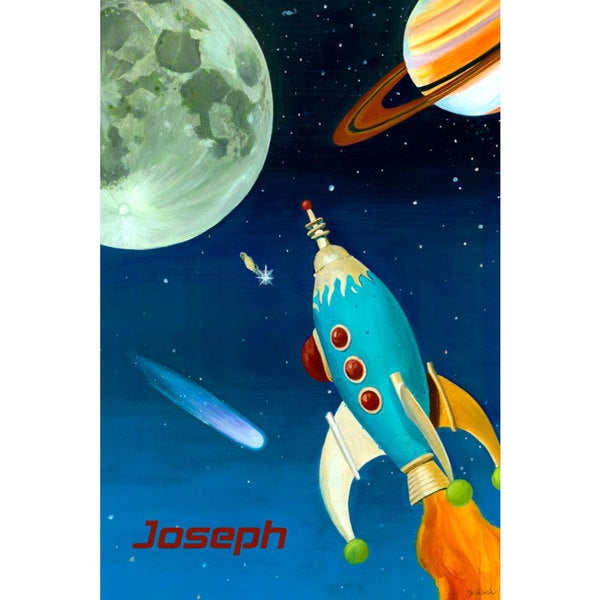 Oopsy Daisy Retro Rocket Stretched Canvas Wall Art