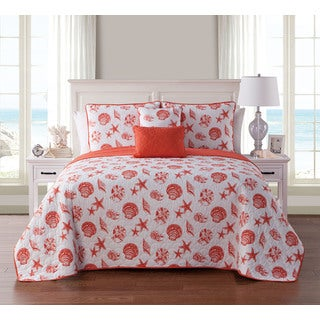 VCNY Home Marco Island Coral Reversible 5-piece Quilt Set