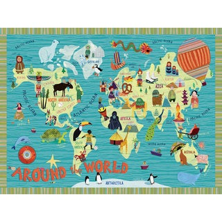 Oopsy daisy 'Around the World' 40-inch Stretched Canvas Wall Art