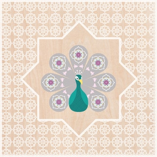 Oopsy Daisy Moroccan Peacock Stretched Canvas Wall Art