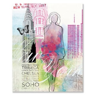 Wheatpaste New York City Girl Stretched Canvas Wall Art