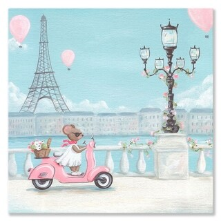Oopsy Daisy Little Pink Vespa Stretched Canvas Wall Art