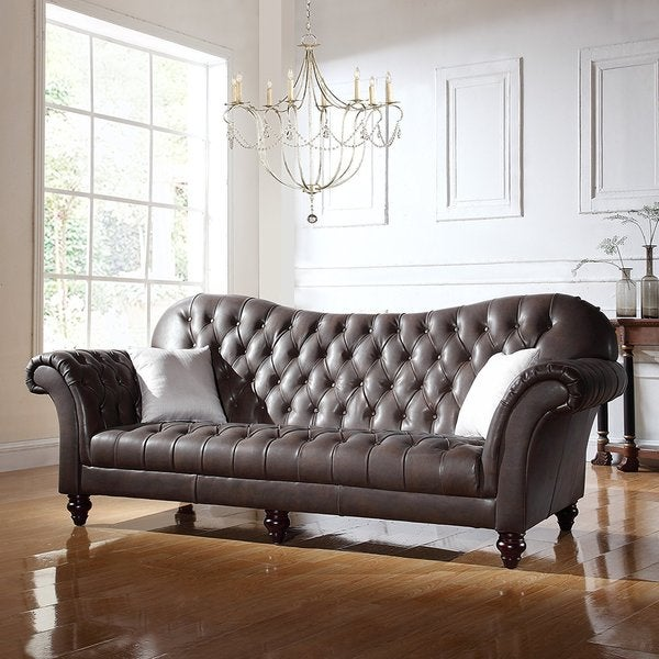 Shop Classic Tufted Real Italian Leather Tufted Victorian