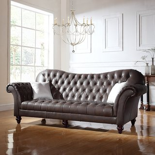 Classic Tufted Real Italian Leather Tufted Victorian Sofa