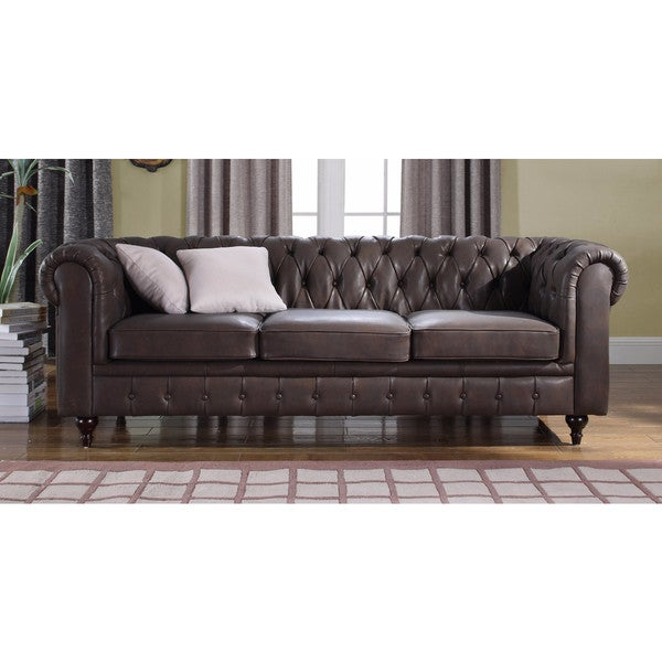 Shop Classic Scroll Arm Real Leather Contemporary Chesterfield Sofa ...