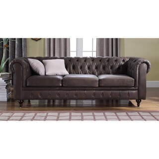 Classic Scroll Arm Real Leather Contemporary Chesterfield Sofa