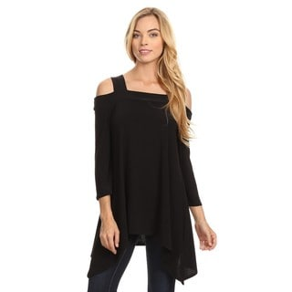 High Secret Women's Solid Color Cut-out Shoulder Long-sleeved Tunic Top