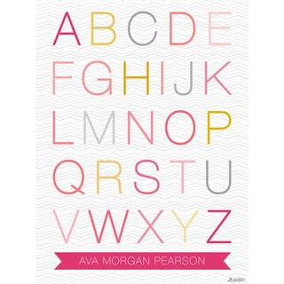Oopsy daisy 'Helvetica ABC - Girl' 18 x 24-inch Stretched Canvas Wall Art