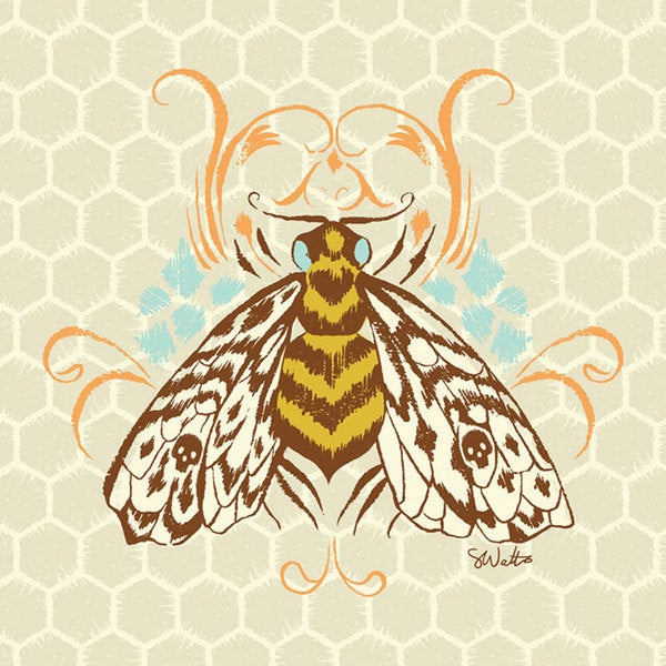 Oopsy daisy 'Honeycomb Bee' 18 x 18-inch Stretched Canvas Wall Art