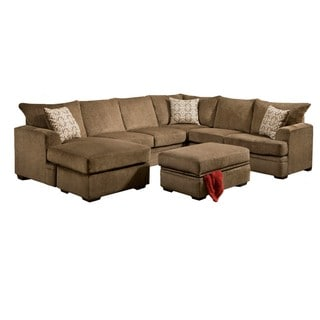 LYKE Home Cocoa 2 Piece Sectional Sofa And Storage Ottoman Set