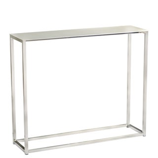 Euro Style Montclair Brushed Steel 36-inch Entryway Console Table - Silver