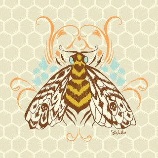 Oopsy daisy 'Honeycomb Bee' 10 x 10-inch Stretched Canvas Wall Art