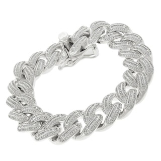 .925 Sterling Silver 18mm Miami Cuban Curb Link CZ Baguette Iced Out Bling 8.75-inch Bracelet