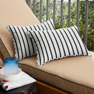 Mabley Sunbrella Lido Indigo Indoor/ Outdoor 13 x 20 Inch Corded Pillow Set