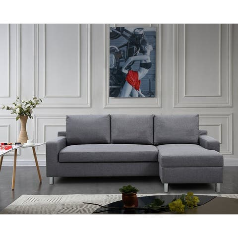 US Pride Furniture Hampton Linen Fabric Sectional Sofa with Pull-out Bed