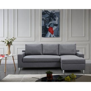 US Pride Furniture Hampton Linen Fabric Sectional Sofa with Pull-out Bed (3 options available)