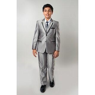 Tazio Boys' 5-piece Shiny Silver Solid Texture Suit