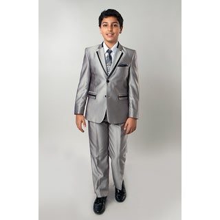 Tazio Boys' 5-piece Shiny Silver Solid Texture Suit