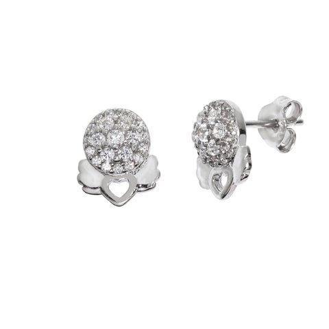 Eternally Haute Solid Sterling-silver Pave Angel Heart Studs - Silver