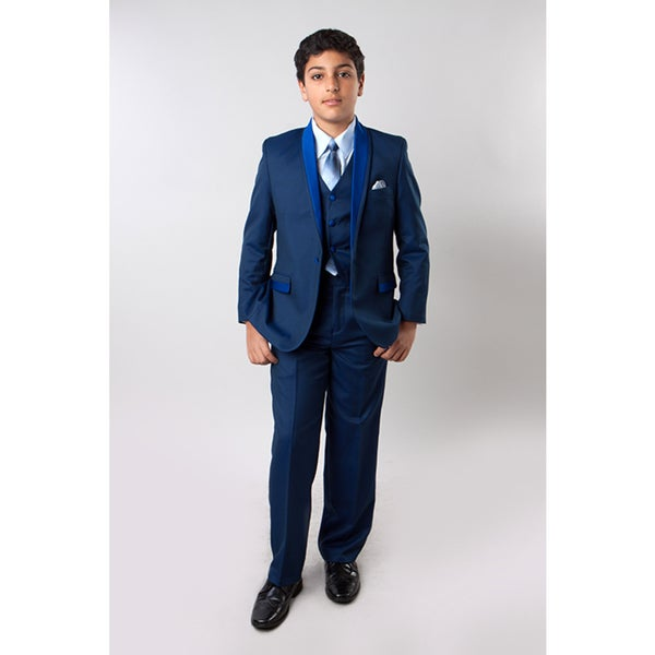 Tazio Boys' Blue Suits 5-piece Tone on Tone Shawl Collar Suits. Opens flyout.