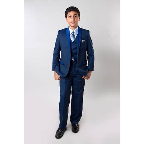 Tazio Boys' Blue Suits 5-piece Tone on Tone Shawl Collar Suits