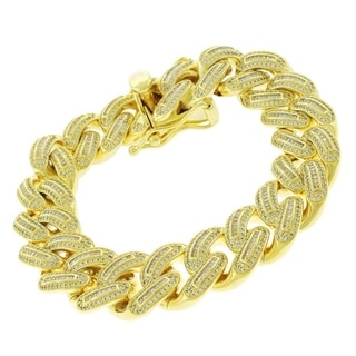 Yellow Gold Plated .925 Sterling Silver 18mm-wide x 8.75-inch-long CZ Baguette Iced Out Miami Cuban Curb Link Bling Bracelet