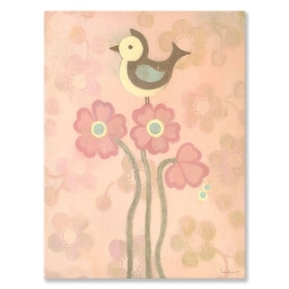 Oopsy Daisy Pink Love Bird Stretched Canvas Wall Art