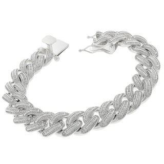 .925 Sterling Silver 16mm Miami Cuban Curb Link CZ Baguette Iced Out 8.75-inch Bling Bracelet